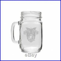 West Point 470ml Deep Etched Old Fashion Drinking Jar with Handle. CC Glass