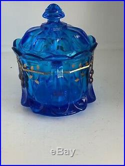 Westmoreland Glass Rare Blue Cherry Pattern Gold Trim Handled Cookie Biscuit Jar