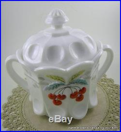 Westmoreland Milk Glass Biscuit Cracker Jar Lid Handles Hand Painted Cherries