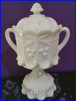 Westmoreland Vintage 1950s Milk Glass Large Handled Pedestal Cookie Jar MINT