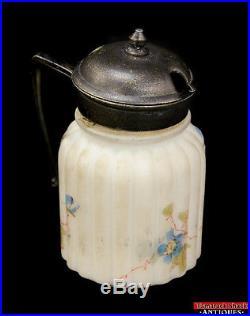 White Milk Glass Hand Painted Honey Jam Jar Pot Antique Metal Lid Handle Hinged
