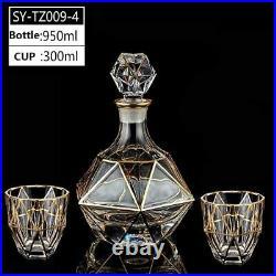 Wine Decanter Whiskey Liquor Pourer Crystal Glass Wine Red Bottle 2 Cups Jar Jug