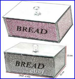 XXL Bread Bin in crushed diamond silver colour Crystals Filled Full Bread Size
